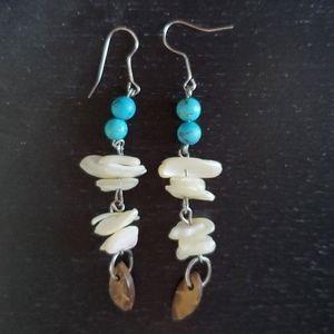 Handcraft vintage stone dangle earrings